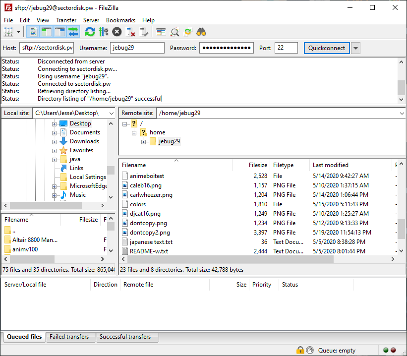 Filezilla Window